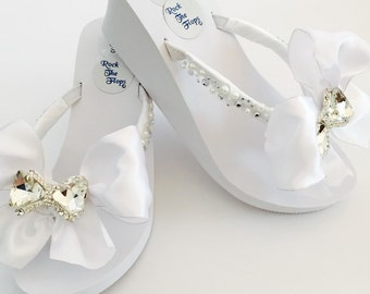 a576ed9b5ccc13 White Wedding Flip Flops.Wedding Shoes.Bridal Shoes.Rhinestone Bridal Shoes.Beach  Wedding.High Wedges.