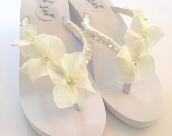 7a6be0c73 Wedding Flip Flops.Bridal Shoes.Wedged Flip Flops.White Wedding Shoes.  White Sandals.Ivory Wedding Shoes.Beach Wedding Shoes. Custom made