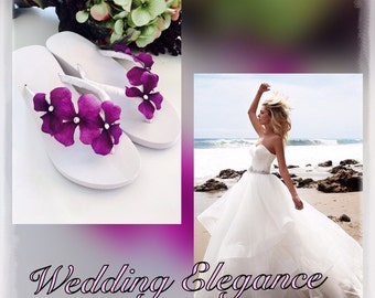 ada6cbeec7b9a Bridal Flip Flops.Wedding Flip Flops.Platform Wedge Flip Flops for Bride.  Beach Weddings.Bling Flip Flops.Flower Flip Flops.