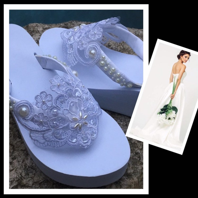 22d7ae4d0241c ALL WHITE Bridal Flip Flops / Wedges .Wedding Flip Flops. Sandals for  Bride. Shoes for Bride . Gifts for Bride. Shoes with Pearl