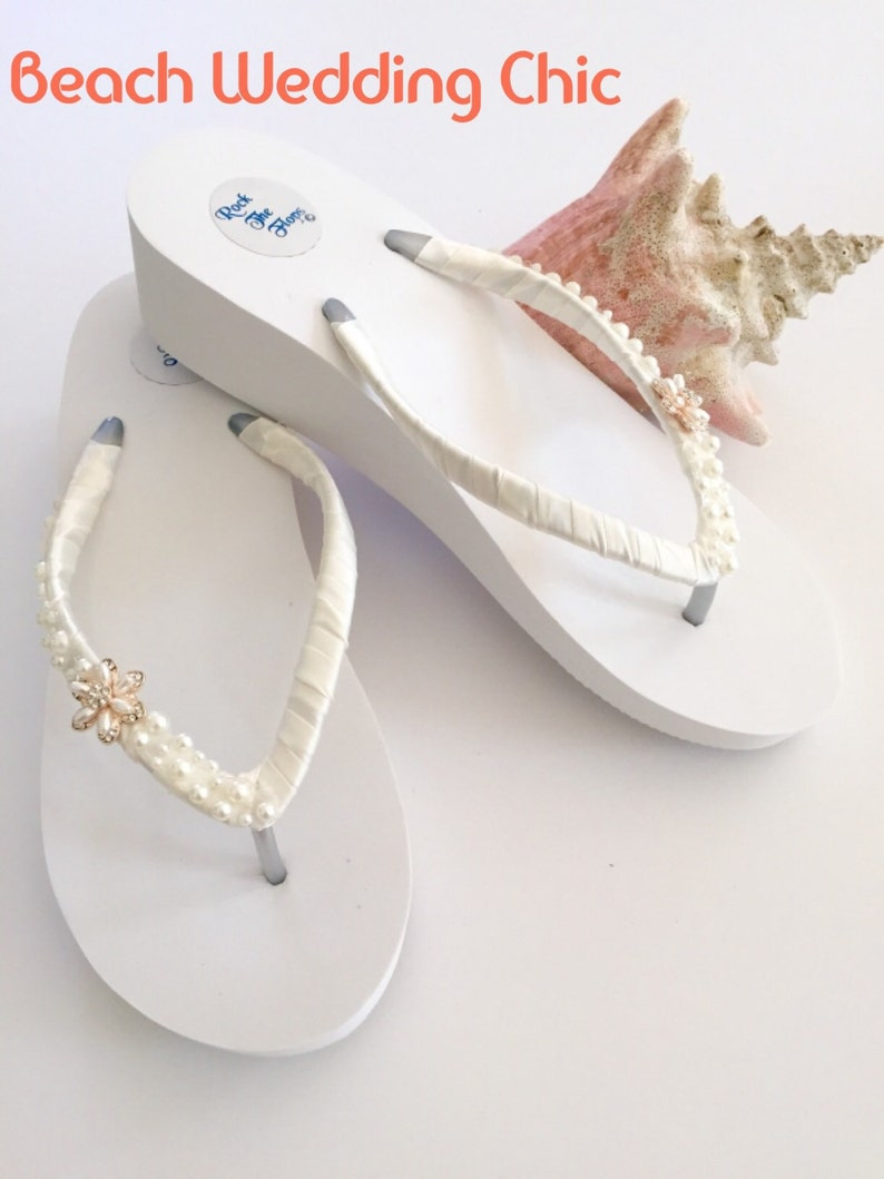 b7c4410125879d Bridal Flip Flops Wedges.Wedding Flip Flops sandals. Ivory