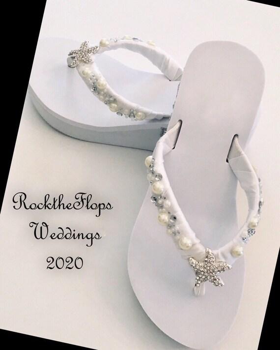 Trendy Bridal Flip Flops. Beach Wedding Shoes. Rhinestone Pearl Flip Flops Wedges. Crystal Starfish Flip Flops Sandals.Bridesmaid Shoes.