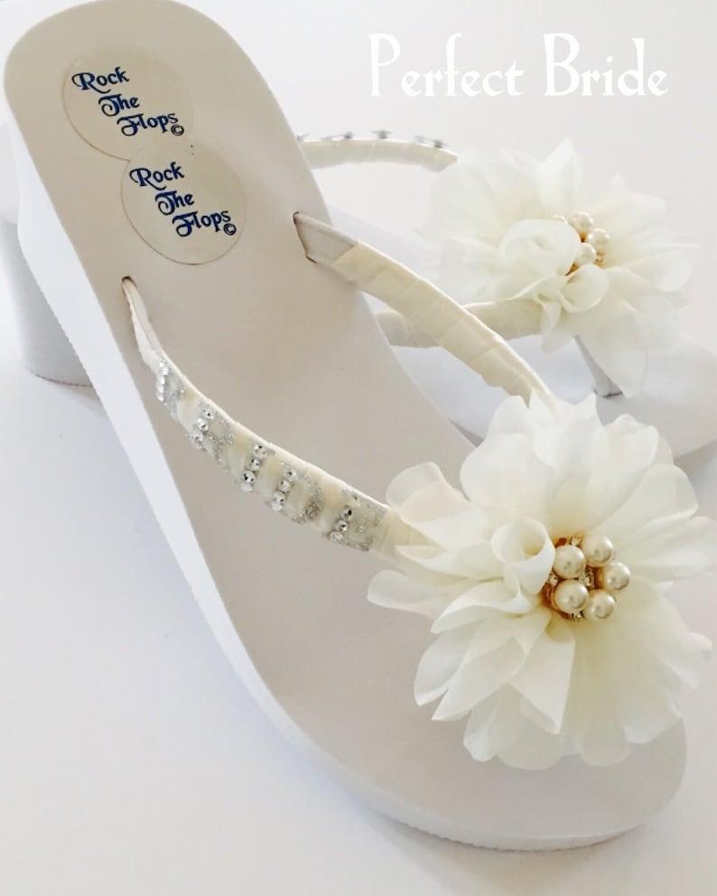 0cbf0501e61a51 Wedding Flip Flops.Bridal Shoes Sandals.Ivory Flip Flops. Rhinestone Wedges.  Beach Wedding Shoes.Bridesmaid Shoes