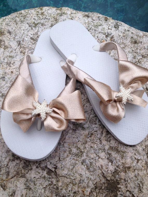 cbd8ed7425052 Bridal Flip Flops Wedges Sandals.Bridesmaids.White Flip Flops.