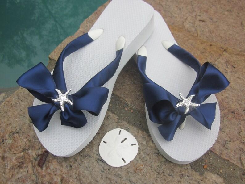 2c41c861d Bridal Flip Flops Wedges.Wedding Sandals.Blue Flip Flops.Beach