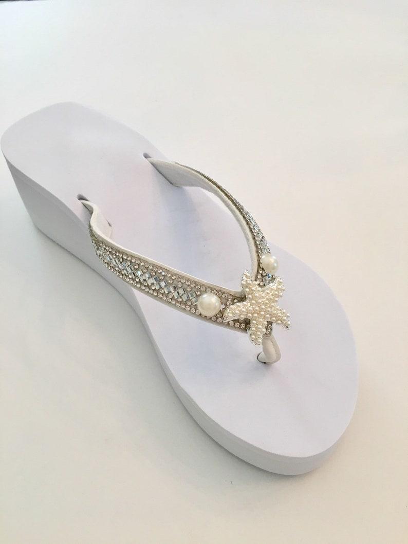 75ba4ab37 Wedged Bridal Flip Flops. Wedding Flip Flops. Bridal Shoes.