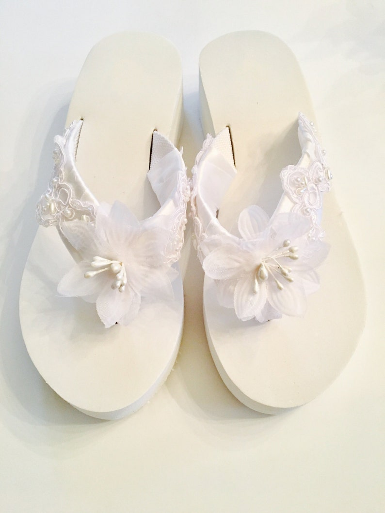 35d7b3503ce95 Bridal Flip Flops Wedges.Wedding Flip Flops Sandals.White Flip