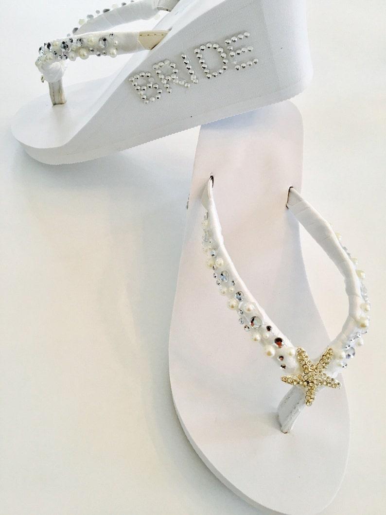 aeedb715c909c7 White Wedding Flip Flops.Bridal Flip Flops.Wedding Shoes.