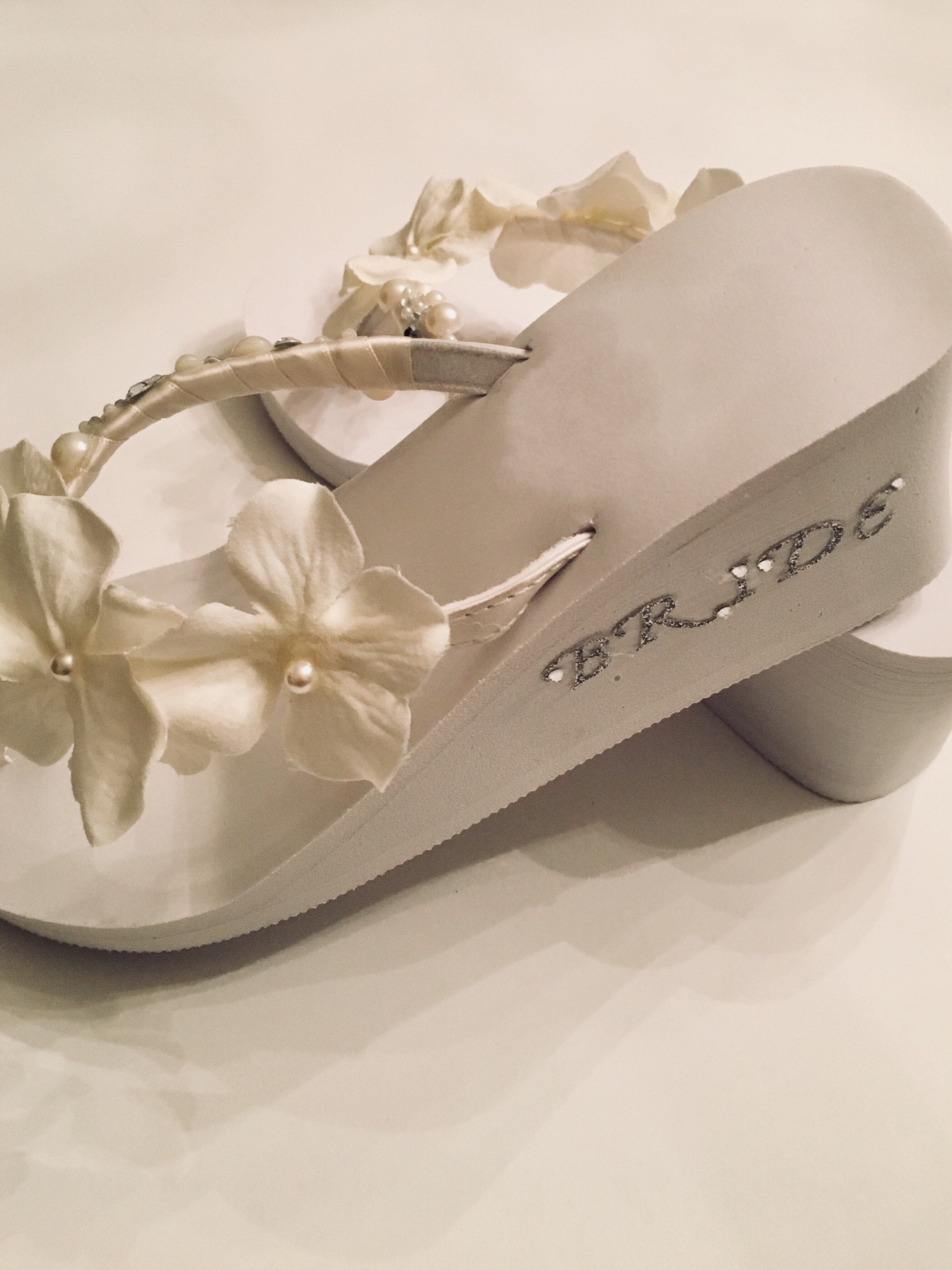 64a4c6156 Bridal Shoes Flip Flop Wedges . Wedding Shoes. Beach Wedding