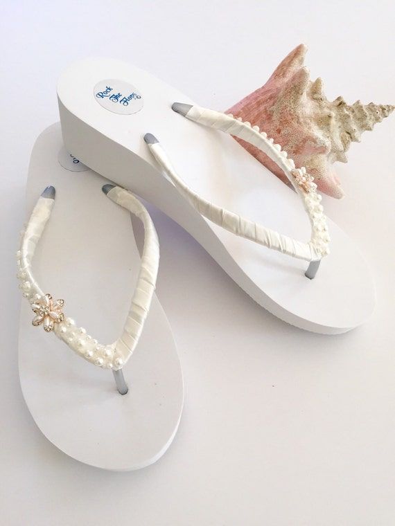 Bridal Flip Flops Wedges Wedding Shoes Wedding Sandals Beach Wedding Shoes Bride Sandals Wedding Flip Flops Bride Gifts Bridesmaid Shoes