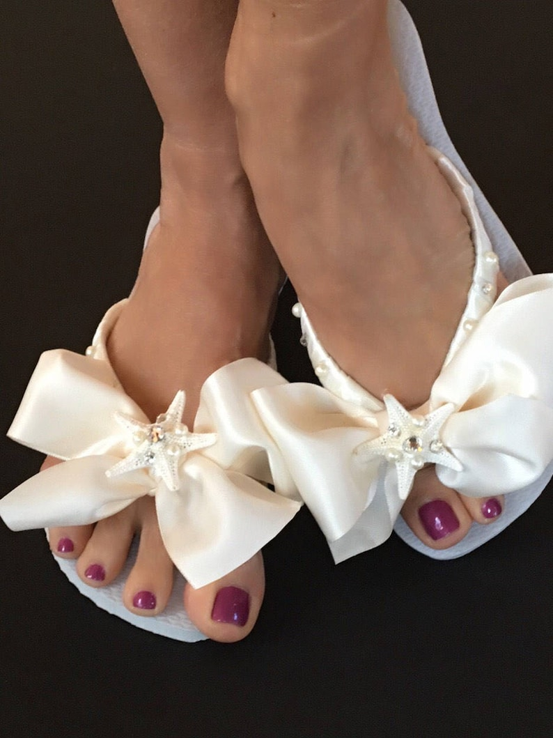 87cd04a99f6501 Bridal Flip Flops Wedges  Beach Wedding Shoes  Bridal Shoes
