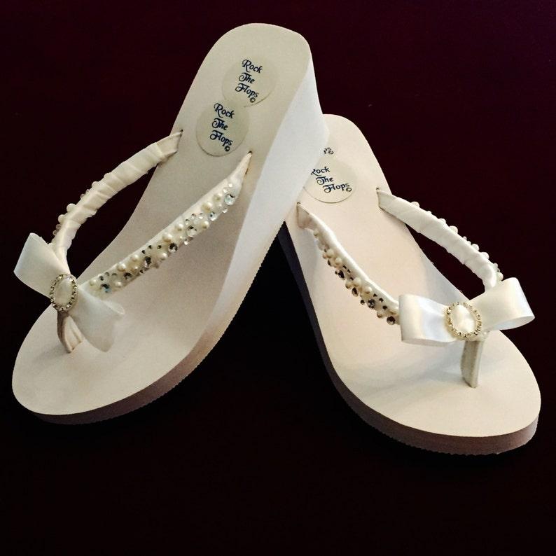 d8e1efda6e987 Bridal Flip Flops wedges.Wedding Flip Flops. White Wedding