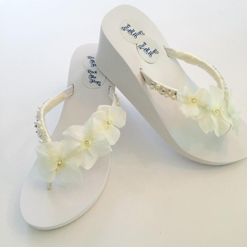 07db14c997b499 Wedding Flip Flops.Bridal Shoes.Wedged Flip Flops.White