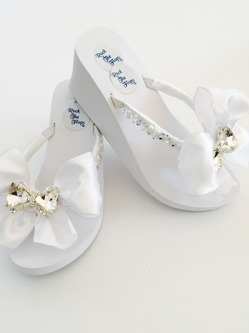 485cd4884e32 Bridal FLip Flops 3 WEDGES.White Wedding Flip
