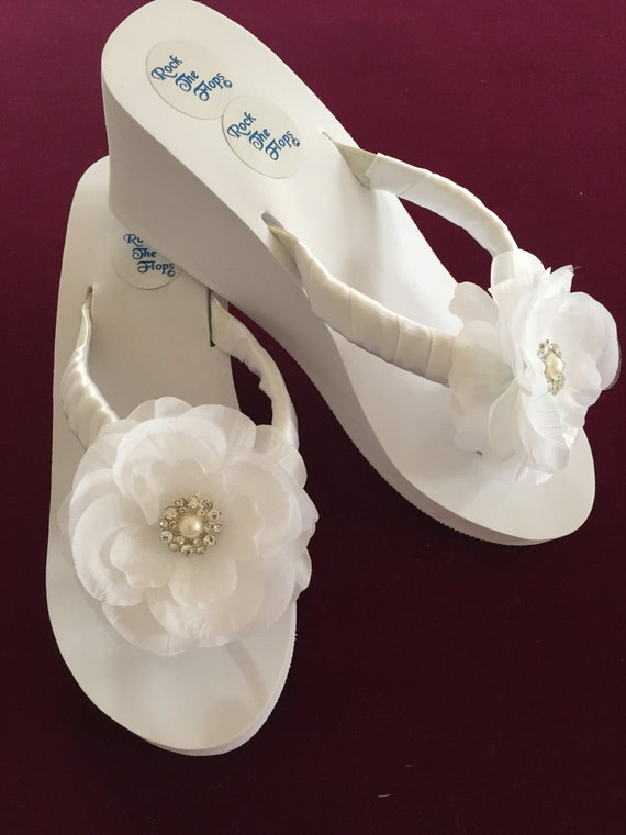 a29ca5550f497 Bridal Flip Flops Wedges.Wedding Flip Flops.Wedding