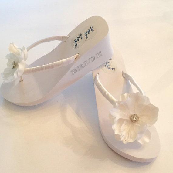 2d9ccd02cc6a6 BRIDAL Flip Flops Wedge. Wedding Flip Flop  Sandals. Beach