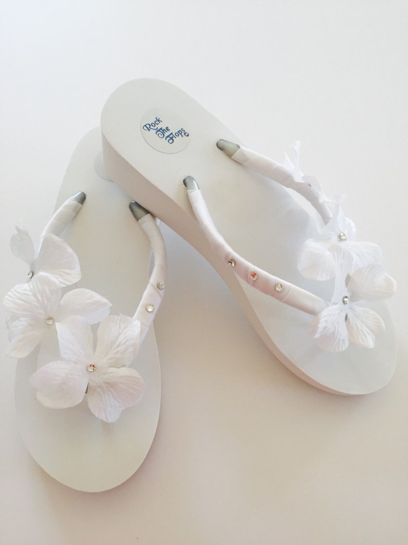 7d9afcfc0 WHITE Bridal Flip Flops.Wedding Flip Flops Wedding Shoes