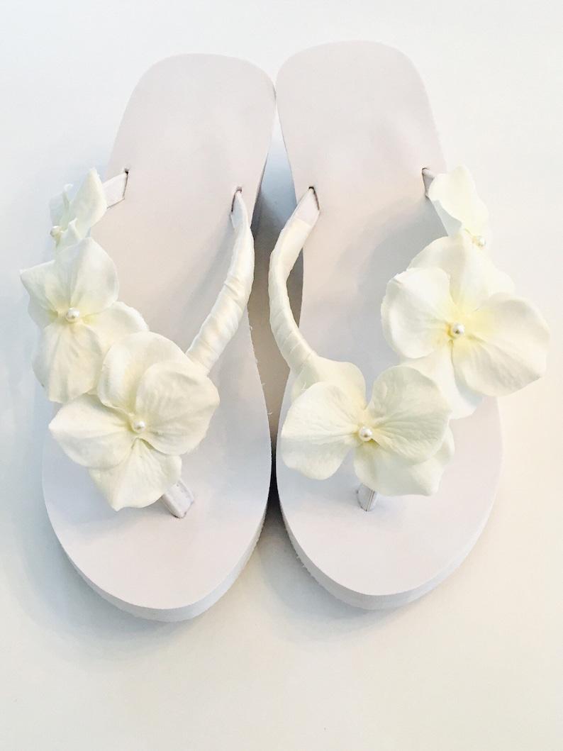 7abf755a534043 Bridal Flip Flops  Wedges Beach Wedding Shoes Bridal Shoes