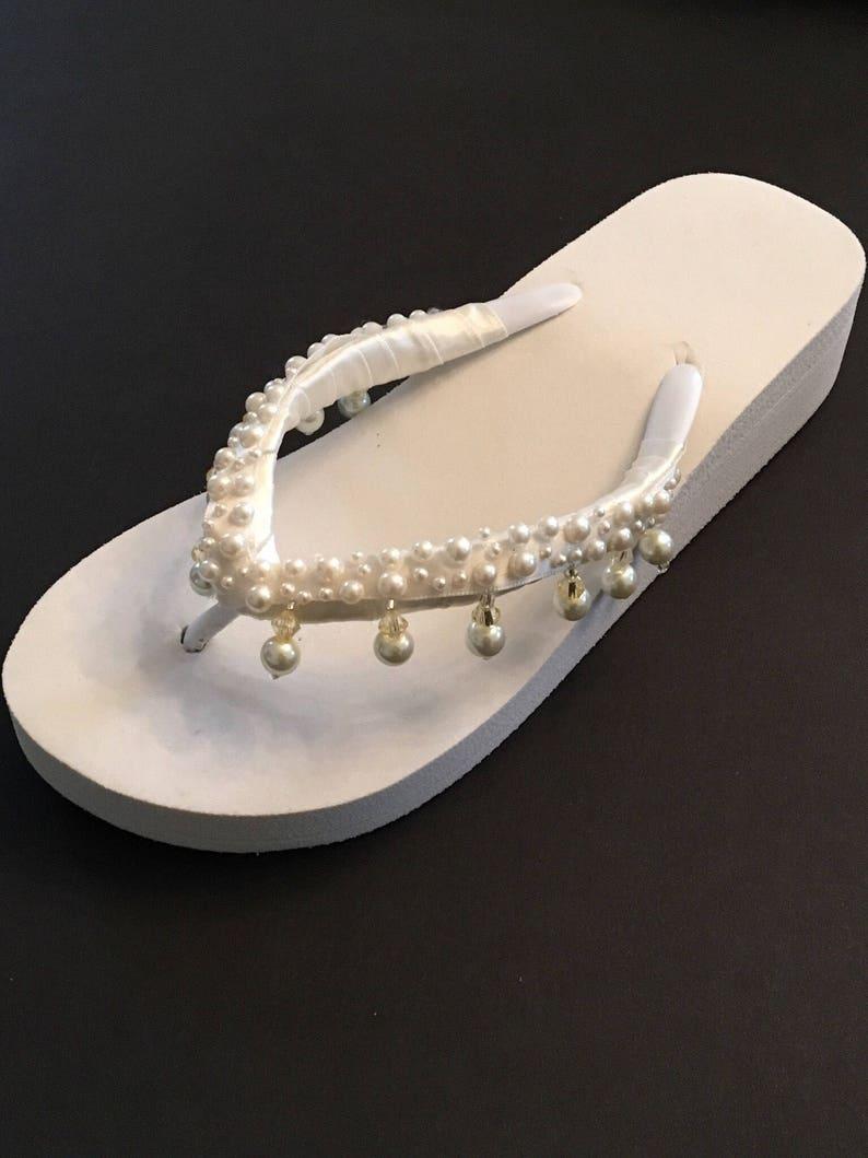 b567e256fb47b6 Bridal Wedges Flip Flops Bride Shoes Sandals Wedding Flip