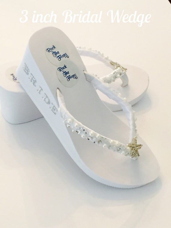 738647dcfe7 White Wedding Flip Flops. Bridal Flip Flops.Beach Wedding