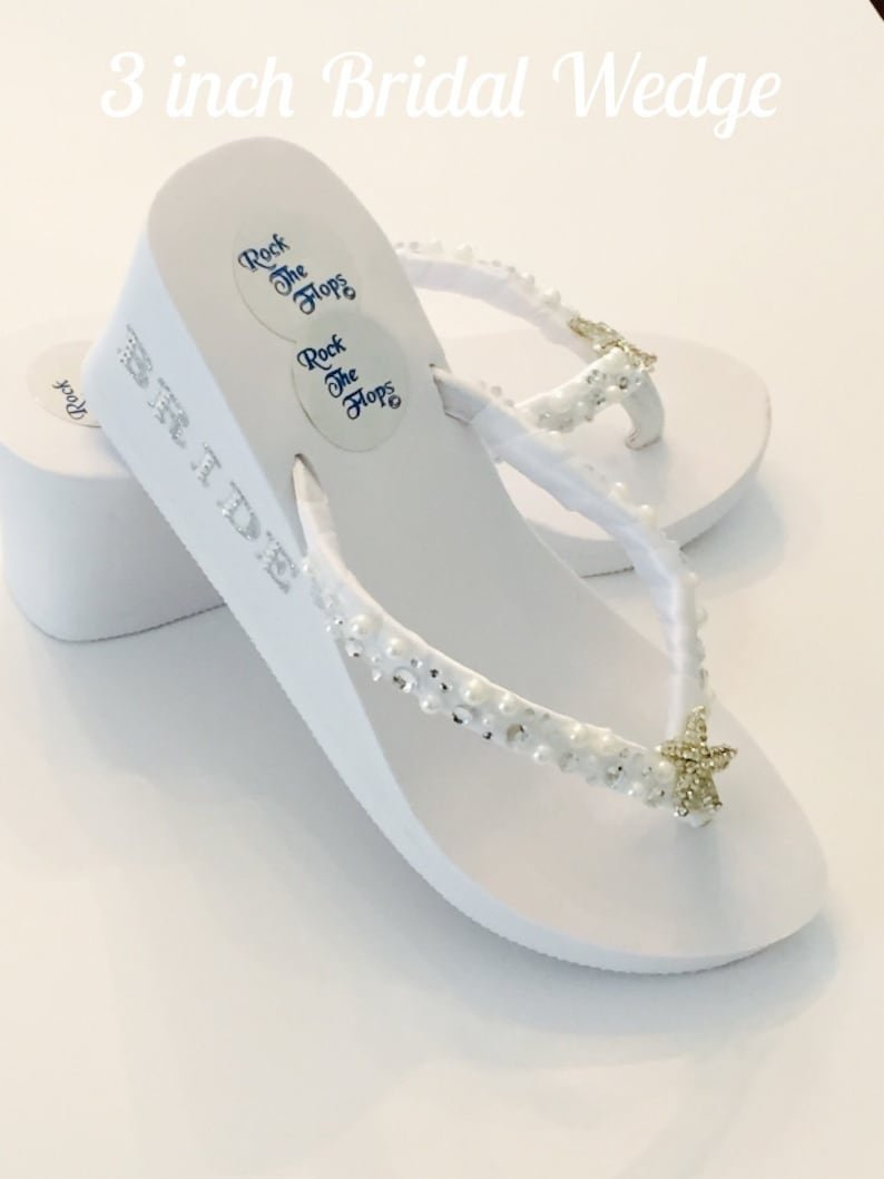 09a1ef3cdf17b White Wedding Flip Flops. Bridal Flip Flops.Beach Wedding