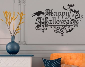 Happy Halloween wall decal with bats and raven in orange or black - Halloween Decor - WB705