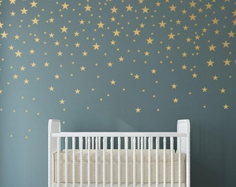 Gold Stars Wall Decals Set for Nursery Decor, Easy Peel and Stick Application, removable, matte metallic finish looks like paint - WBSTRm