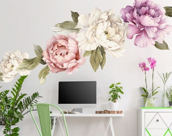 Large Peony Wall Decal set of 6 - Flower Wall Decals - Peel and Stick Removable Floral Wallpaper Decals - Floral Wall Mural - WB417