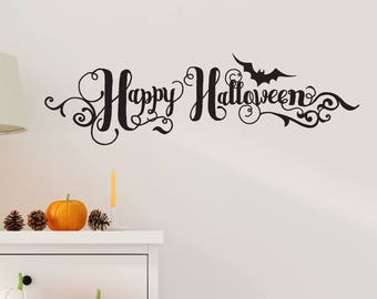 Happy Halloween Wall Decal - Handwritten Style - Halloween Wall Decal - with Bats and Scrolls - WB-906
