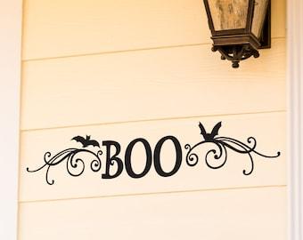 Front Door Halloween Wall Decal - Boo Door Decal - Halloween Wall Decal - Cute Boo with Bats and Scrolls - WB-905