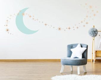 Details about  /3D Moon Stars 8 Wall Stickers Vinyl Murals Wall Print Decal Deco Art AJ STORE AU