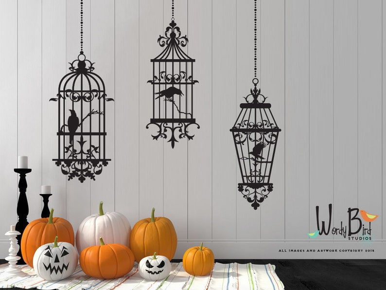 Gothic style Birdcages with Ravens Halloween Wall decals  image 0