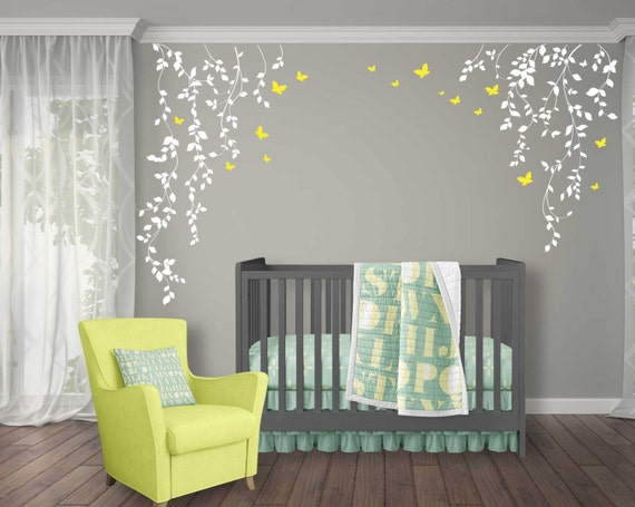 Butterflies And Hanging Vines Wall Decal For Baby Girl