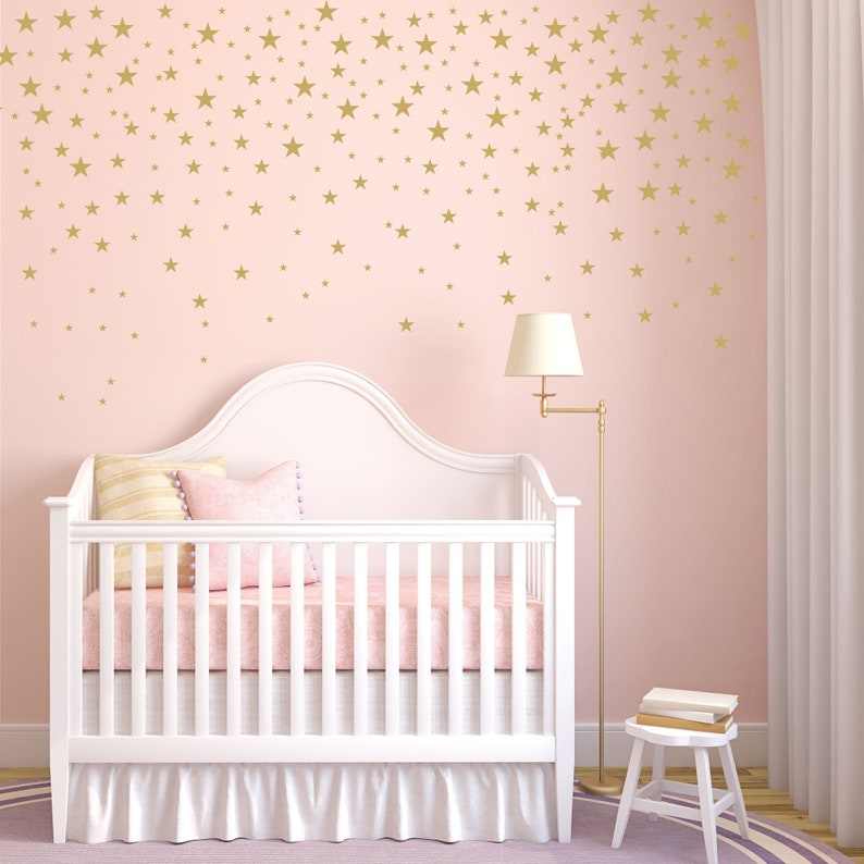 72addbcca4a11 Gold Stars Wall Decals Set for Nursery Decor, Easy Peel and Stick  Application, removable, matte metallic finish looks like paint - WBSTRm