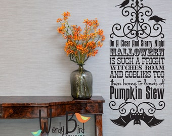 Witches Roam Halloween wall decal or wall sticker - Vinyl Wall Decal Sticker Art -  - Halloween Wall Mural - WB709