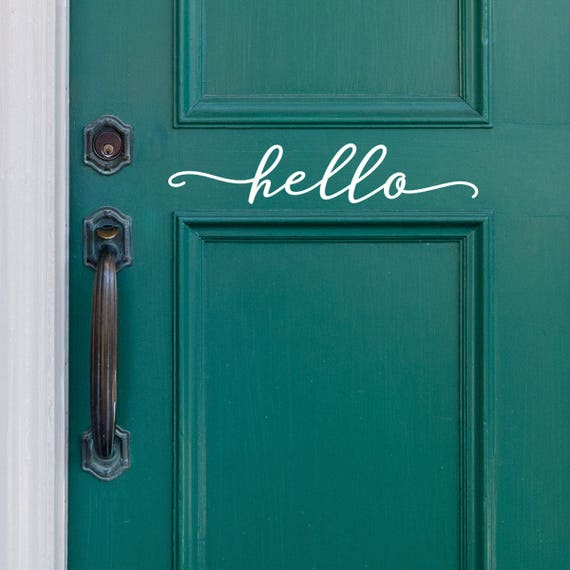 Bonjour sticker pour porte dentr e ou entr e decor ferme etsy - Porte d entree qui ferme mal ...