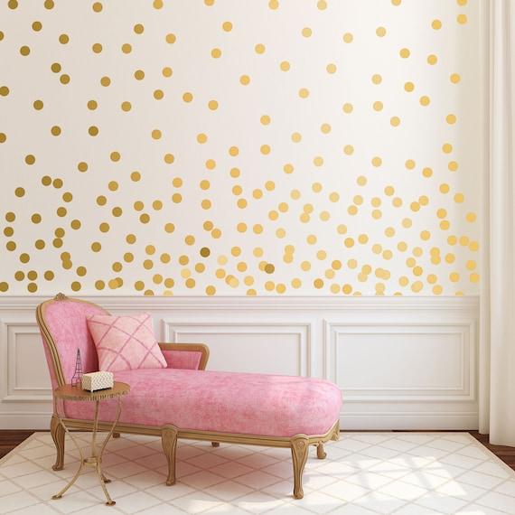 gold dot wall decals metallic gold polka dots gold wall   etsy
