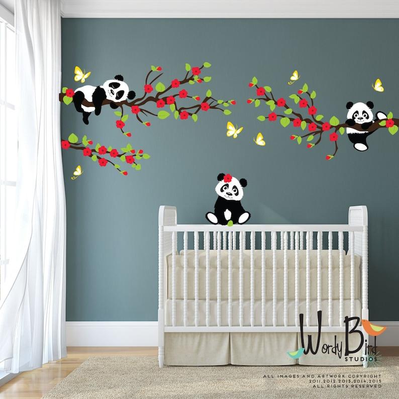 Stickers Op De Muur.Panda Muur Stickers Muur Stickers Van De Boom Met Cherry Etsy
