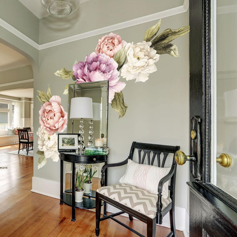 78a0277d618 Large Peony Wall Decal set of 6 Flower Wall Decals Peel