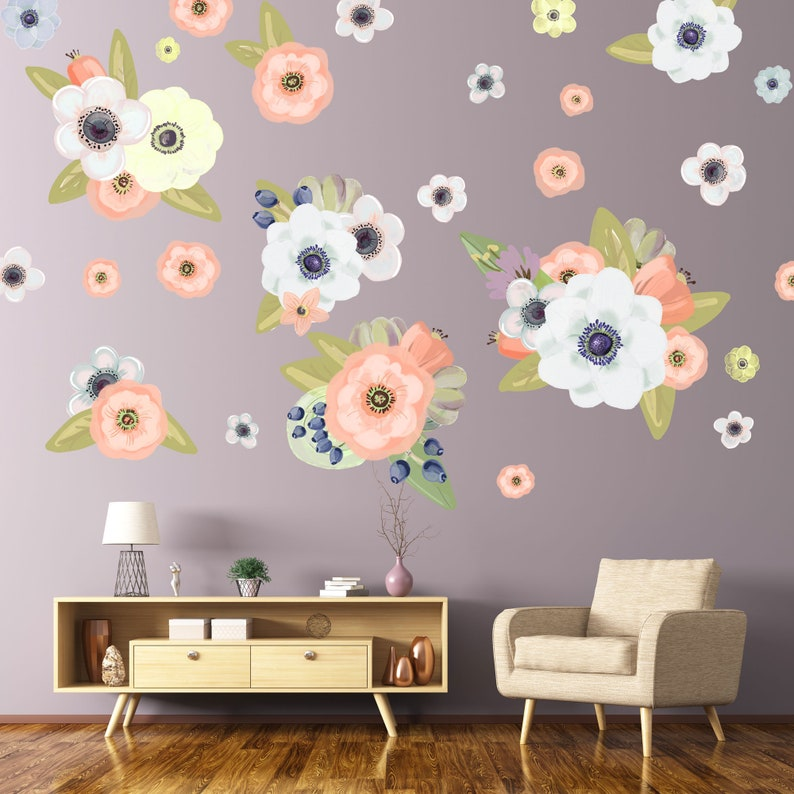 Flower Wall Decals Printed On Peel And Stick Removable Etsy