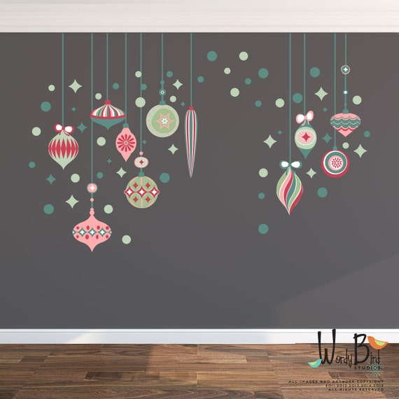 Christmas Wall Decals Removable.Retro Ornaments Christmas Wall Decals Reusable And Removable Fabric Wall Decal Material Perfect For Apartments Or Dorms Wb725