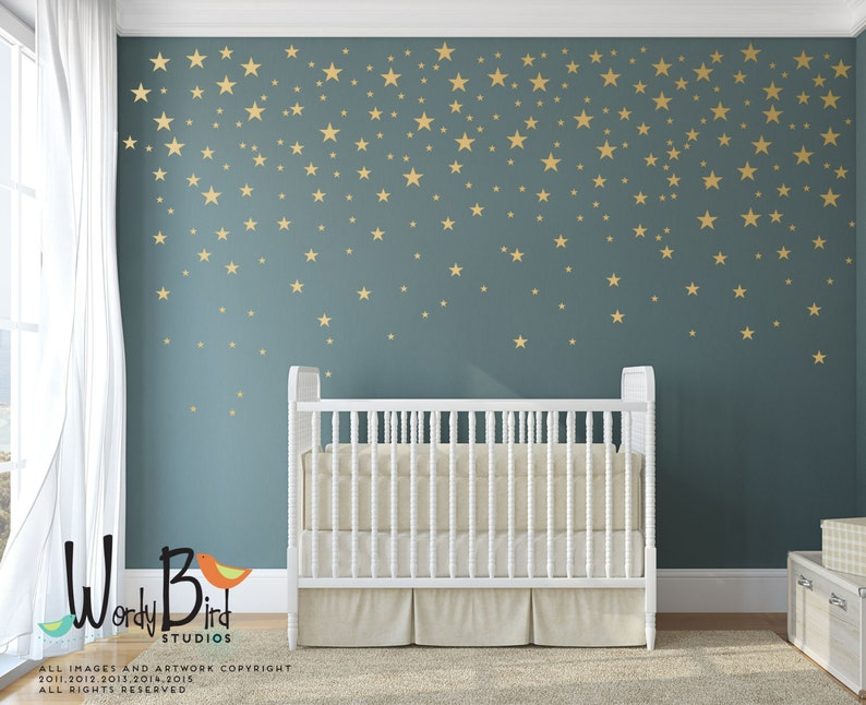 49969cd134272 Gold Stars Wall Decals Pack - Peel and Stick Confetti Wall Decals -  Metallic Star Wall Decals WBSTRm