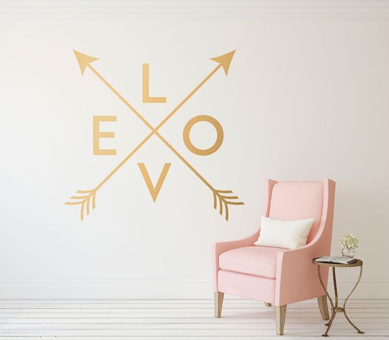 gold arrow wall decal crossed arrows love wall decor love | etsy