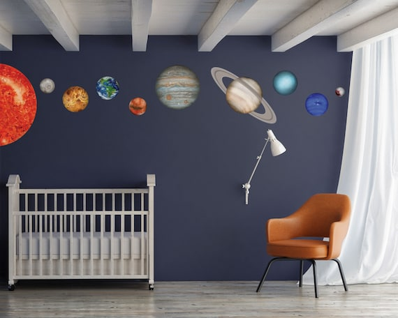 Sun Planets Wall Stickers Set Solar System Kids Room Decor Or Classroom Decor Made With Reusable Fabric Decal Material Wb1620