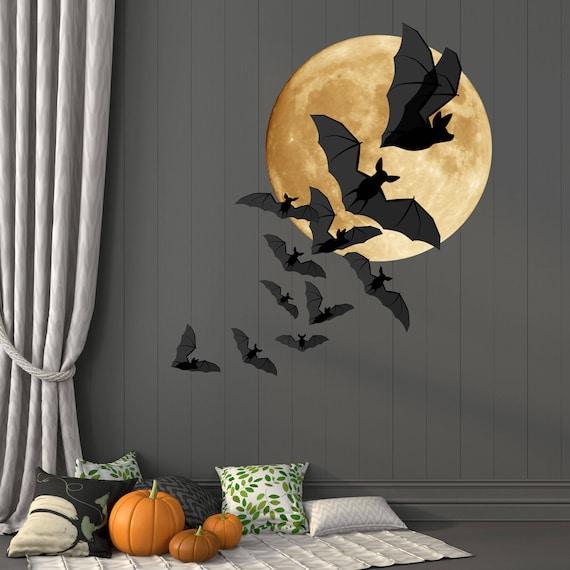 Bats And Moon Halloween Wall Decor Full Moon And A Colony Of Etsy