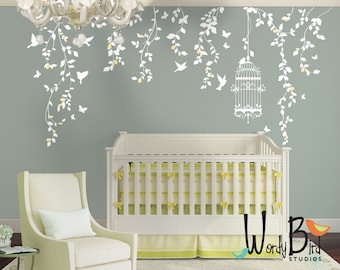 Hanging Vines Floral Wall Decals set with Birdcage, Birds, Butterflies and flower buds - for Girl Nursery Decor - WB701