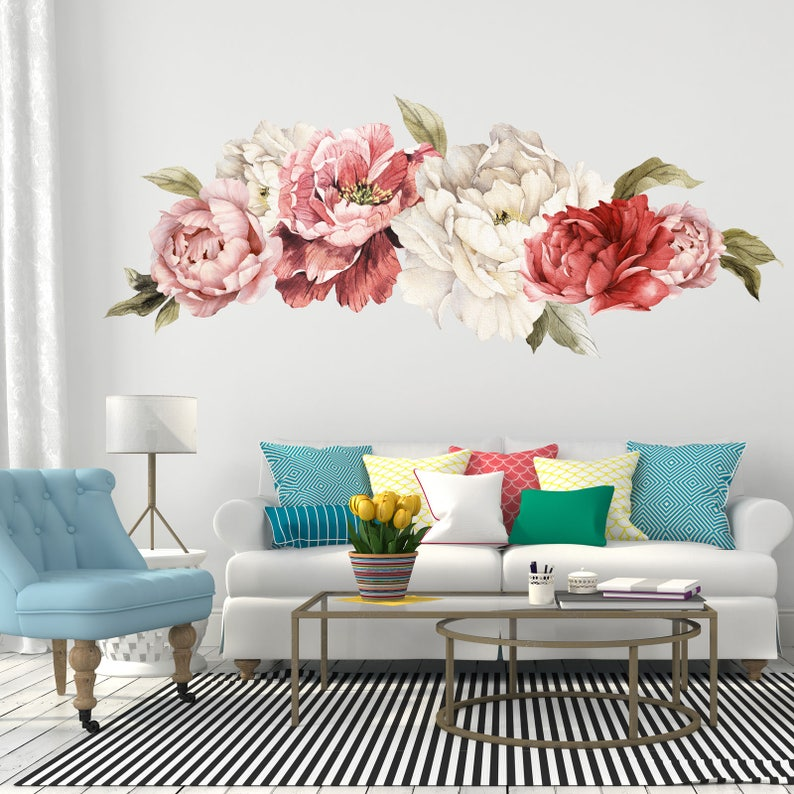 giant peony wall stickers floral wall mural watercolor | etsy