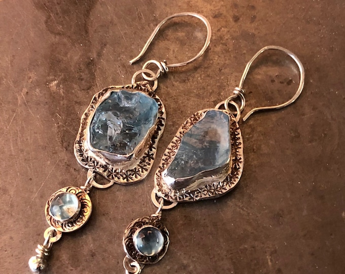Raw Aquamarine and Topaz Dangle Earrings