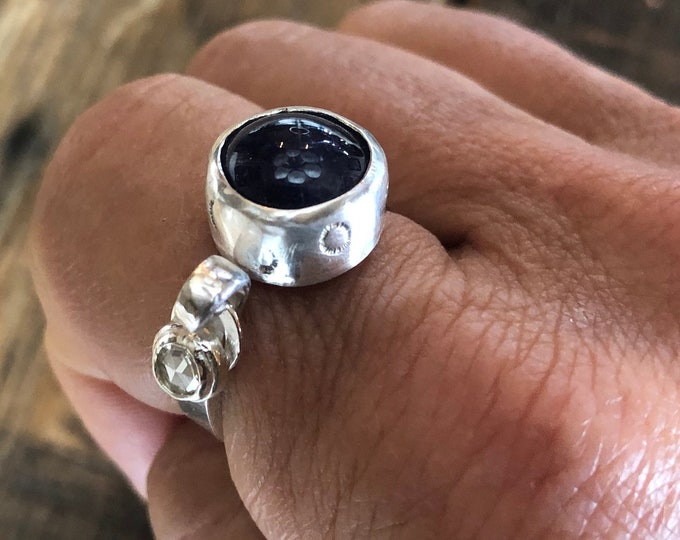 Genuine Diamond Dangle Ring Size 8 1/2 Statement Ring Blue Sapphire VS1-2 Rose Cut Diamond Ring Modern Silver Ring Diamond Ring