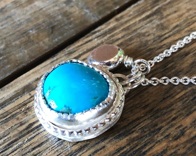 Southwest Boho Turquoise Necklace Sterling Silver Charm Pendant Necklace Carved Bezel Fine Silver Pebble Accent 18 inch chain